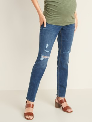 Old Navy Maternity Full Panel Distressed Universal Straight Jeans