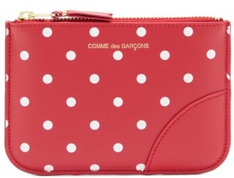 Comme des Garcons Polka-dot Leather Coin Purse - Red Multi