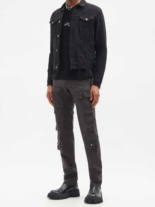 Thumbnail for your product : Givenchy Flap-pocket Shell Slim-leg Cargo Trousers - Black