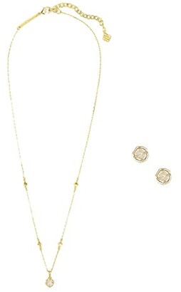 Kendra Scott Nola Necklace Stud Earrings Gift Set (Gold Iridescent Drusy) Jewelry Sets