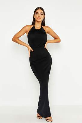 boohoo High Neck Tie Maxi Dress