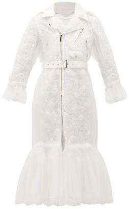 Noir Kei Ninomiya Peplum-hem Floral-applique Tulle Coat - White