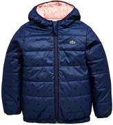 Lacoste Girls Spot Print Reversible Quilted Coat