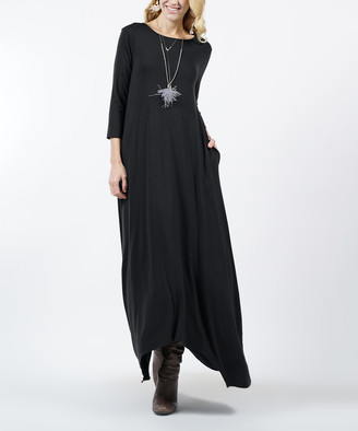 Lydiane Women's Maxi Dresses BLACK - Black Crewneck Three-Quarter Sleeve Shark-Bite Pocket Maxi Dress - Women