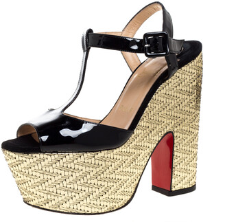 Christian Louboutin Black Patent And Metallic Gold Wedge 'So Bella' T-Bar Open Toe Sandals Size 38