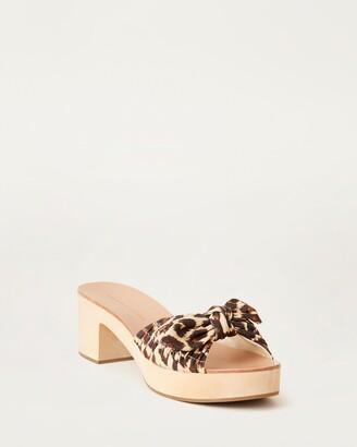 Loeffler Randall Regina Bow Clog Slide Leopard
