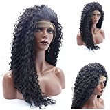 EO Deep Kinky curly synthetic lace front wig baby hair black/dark brown color heat resistant synthetic fiber for black women (22in, #1b)
