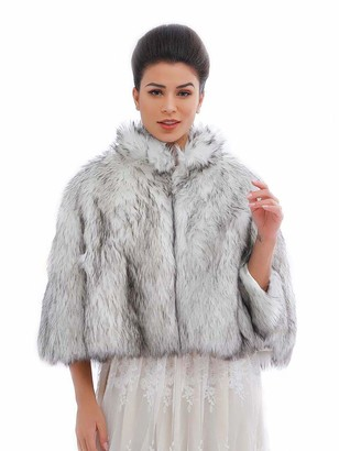 Ushiny Wedding Faux Fur Shawl and Stole Bridal Fur Wraps Winter Fur Scarf for Women and Girls (Black and White)