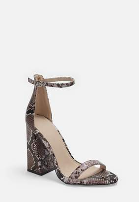 Missguided Brown Snake Block Heeled Sandals