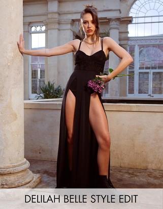 Asos Design DESIGN slinky corset maxi dress with lace body