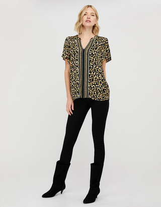 Monsoon Camillia Printed Blouse in Sustainable Viscose Black