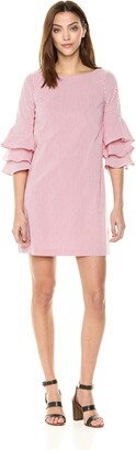 Adrianna Papell Women's Cotton Stripe Shift Dress with Layered Bell Sleeve