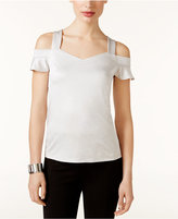 INC International Concepts Petite Cold-Shoulder Shine Top, Only at Macy's