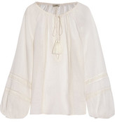 Talitha Lace-Trimmed Cotton-Voile Blouse