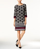 Jessica Howard Three-Quarter-Sleeve Tile-Print Dress