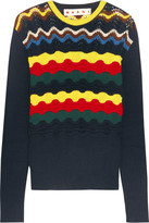 Marni Pointelle-knit Cotton-blend Sweater - Navy