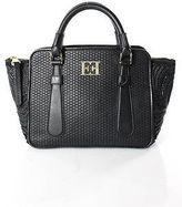 Escada Black Leather Braided Embroidered Trim Gold Tone Accents Satchel Handbag
