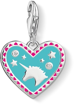 Thomas Sabo Women Charm Pendant Heart With Unicorn Turquoise Pink 925 Sterling Silver 1470-041-17