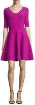 Milly Half-Sleeve V-Neck Fit-&-Flare Dress, Fuchsia