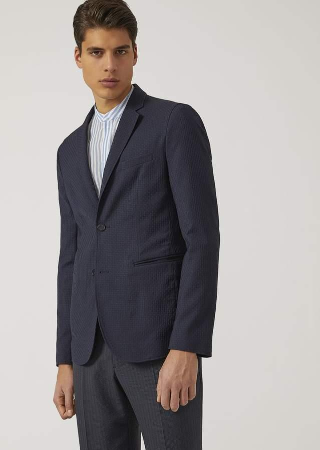 Emporio Armani Half-Lined Jacket In Virgin Wool