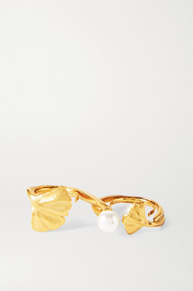 Oscar de la Renta Gold-tone Faux Pearl Two-finger Ring