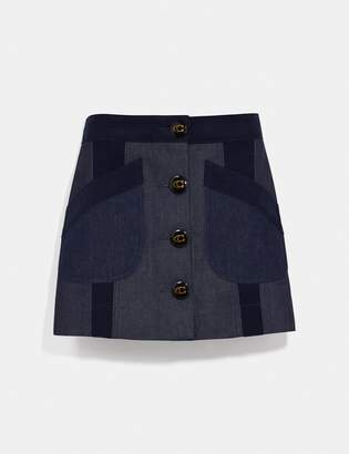 Coach Denim Skirt With Corduroy Detail