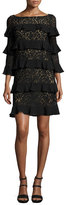 Michael Kors Tiered 3/4-Sleeve Lace Dress, Black