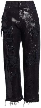 R 13 Distressed Cropped Sequin Jeans