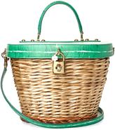 Dolce & Gabbana Banana leaf-print leather and wicker basket bag