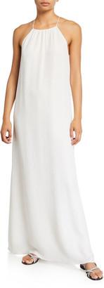 MARIE FRANCE VAN DAMME Silk Croc-Jacquard Racerback Coverup Dress
