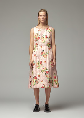 Comme des Garcons Women's Taffeta Floral Pattern Sleeveless Quilted Dress in Pink Size 4