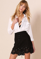Missy Empire Lyla Black Suede Laser Cut Lace Up Mini Skirt