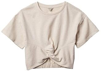 Habitual Twist Front 3/4 Sleeve Top (Big Kids) (Oatmeal) Girl's Clothing