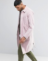 Asos Trench Coat With Parka Detail In Pink