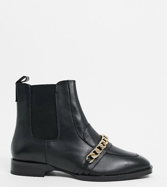 ASOS DESIGN Wide Fit Ava leather loafer boot with chain trim in black
