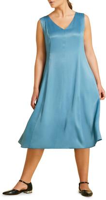 Marina Rinaldi Plus Size Decagono V-Neck Sleeveless Midi Dress