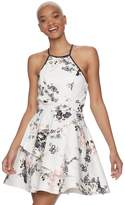 Speechless Juniors' Halter Tiered Floral Skater Dress
