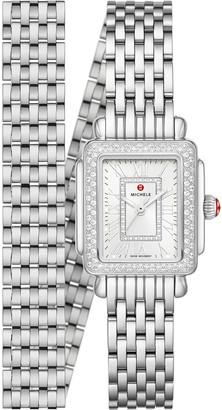 Michele Deco Madison Mini Stainless Diamond Watch, Silvertone