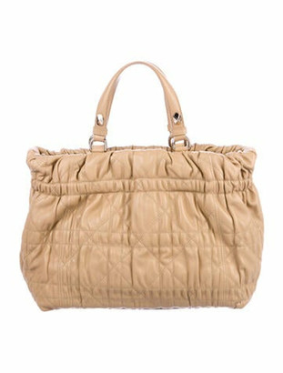 Christian Dior Quilted Cannage Medium Delices Tote Gold