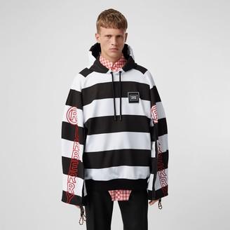 Burberry Zip Detail Logo Print Striped Cotton Hoodie