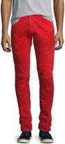 Pierre Balmain Slim-Straight Moto Jeans, Red