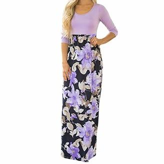 Evansamp Dress Evansamp Women's High Waisted Floral Print Three Quarter Sleeve Casual Tunic Long Boho Maxi Dress (Blue M)