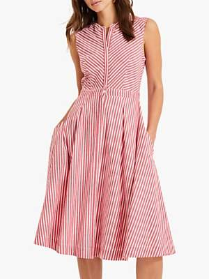 Phase Eight Ajee Striped Cotton Dress, Red/White