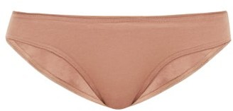 Skin - Lola Tulle-trimmed Organic-cotton Briefs - Womens - Light Brown