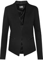 Karl Lagerfeld Ikonik Punto Satin-trimmed Crepe Blazer - Black