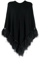Valentino feather-trimmed poncho