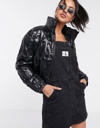 Calvin Klein Jeans embossed logo padded jacket in black