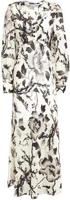 McQ Gathered Floral-print Washed Crepe De Chine Midi Dress