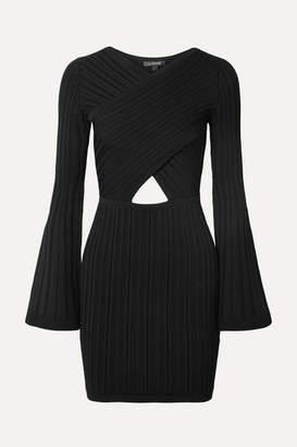Cushnie Cutout Ribbed-knit Mini Dress - Black