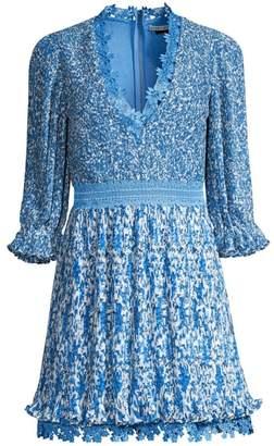 Alice + Olivia Jonna Pleated Deep-V Mini Dress